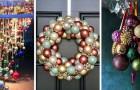 12 idee strepitose per creare decorazioni inedite e accattivanti con le palline dell'albero di Natale