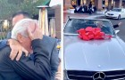 Cumple 80 años y como regalo recibe un auto que siempre había soñado: no logra retener las lágrimas