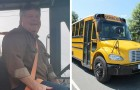 The roads are icy and unsafe: the school bus driver stops and buys breakfast for all the children