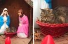 Une femme remarque une représentation insolite de la Nativité dans la rue : au lieu de l'enfant Jésus, il y a un chat grincheux