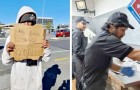 Ein Mann beschließt, den Obdachlosen einzustellen, der jeden Tag vor seiner Pizzeria bettelt