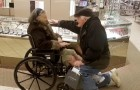 He kneels and gives an engagement ring to his wifewho is just out of hospital: they have been in love for 64 years