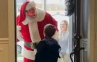 He asks Santa for a toy gun but Santa tells him no: Mom is not amused