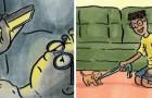 Questi disegni ci mostrano l'enorme differenza che c'è tra vivere con e senza un cane