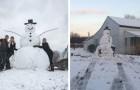 Un vandalo ha provato a buttare giù con l'auto questo pupazzo di neve gigante, ma il pupazzo ne è uscito vincitore