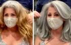 Um cabeleireiro habilidoso destaca toda a beleza natural dos cabelos grisalhos das suas clientes