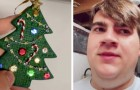 Una mamma creativa realizza una decorazione natalizia usando l'apparecchio dentale del figlio