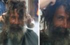 De kapper geeft de dakloze man een verrassende verandering van look: dankzij de foto's vindt hij zijn familie terug
