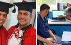 Un padre sostiene il figlio autistico nel percorso di studi in Giurisprudenza: oggi sono entrambi laureati