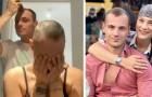 Zijn vriendin lijdt aan alopecia en wordt gedwongen haar haar af te scheren: ook hij scheert zijn haar af om haar te ondersteunen
