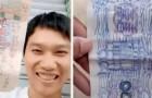 En hemlös man betalar alltid med falska sedlar som han själv ritat: en generös butiksägare bestämmer sig för att