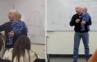 Um professor interrompe a aula para embalar o bebê de uma de suas alunas: estava chorando sem parar