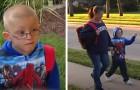 Mamma och son går en och en halv timme varje dag för att gå till skolan: en granne erbjuder att alltid skjutsa honom