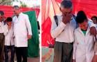 Todos os dias, ele caminha 6 km com seu avô para ir para a escola: no dia da formatura, ele chora lágrimas de alegria