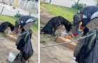 A homeless man takes care of a disabled dog: he feeds him and considers him
