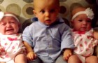 A child meets his twin cousins: his reaction is very confused !