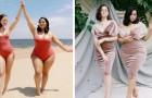 Twee modellen met een verschillende lichaamsbouw dragen dezelfde kleding en bewijzen dat mode geen maten kent