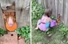 Der Hund macht ein Loch in den Zaun, damit er mit seinem Lieblingsball zusammen mit den Nachbarsmädchen spielen kann