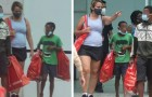 Deux orphelins essaient de vendre des bonbons à une passante : elle leur paie le déjeuner et les emmène au centre commercial