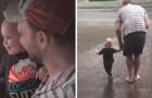 Bimba vede la pioggia cadere per la prima volta e il papà la porta a fare una