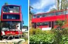 Een stel tovert een oude Londense bus om tot een luxe en supergezellig huis