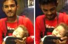 De bezorger die werd gefotografeerd terwijl hij met zijn zoon in zijn armen werkte, werd beloond met een nieuw huis