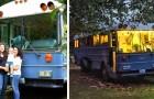 Un couple transforme un bus scolaire en une confortable mini-maison pour y vivre avec leurs enfants et leur chien