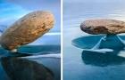 Het fenomeen Baikal Zen: deze stenen houden zichzelf op magische wijze in evenwicht op het bevroren meer