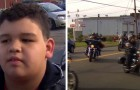 A bullied child is supported by a motorcycle