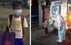 6-jarige jongen stapt alleen in de ambulance nadat hij heeft vernomen dat hij positief is getest op Covid-19