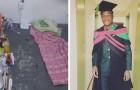 En kille som äntligen tagit sin examen delar bilder på det golv han sovit och studerat på - han gav aldrig upp