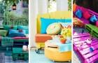 Remplissez votre maison et votre jardin avec ces meubles très colorés obtenus à partir des palettes