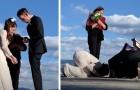 De gifter sig på piren vid en sjö och när det är dags för ringutbytet faller brudens ring i vattnet - scenen är surrealistisk