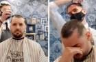 """""""Du bist nicht allein"""": Friseur rasiert sich die Haare als Geste der Solidarität gegenüber einem krebskranken Klienten ab"""
