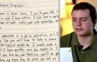 Ragazzo autistico pubblica una lettera scritta a mano per cercare lavoro: