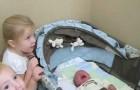 Das Neugeborene kommt nach Hause: Was die große Schwester macht, ist so SÜSS