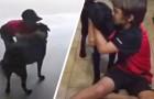 Um menino entra escondido na garagem dos vizinhos todos os dias para ser abraçado pelo cachorro