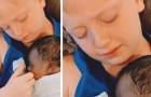 Menino de 9 anos segura o irmão adotivo nos braços pela primeira vez e não consegue conter as lágrimas
