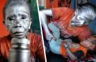 """Diese Großmutter ist dazu gezwungen, jeden Tag als """"lebende Statue"""" auf der Straße zu arbeiten, um ihren zweijährigen Enkel zu ernähren"""