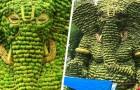 Questa colossale statua del dio Ganesh è stata realizzata con oltre 5 tonnellate di banane