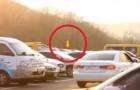 Gele ballonnen zijn vastgemaakt aan een parkeerplaats: wat een briljant idee!