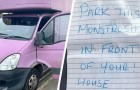 Nachbarn hinterlassen Notiz auf dem rosa Van des Mannes:
