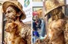 Hund bleibt zusammen mit seinem Straßenkünstler- Herrchen regungslos wie eine Statue: Jetzt sind sie echte Stars