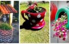 Transformez les vieux pneus en jardinières colorées et très originales pour le jardin