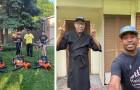Falcia gratuitamente i prati degli anziani e ispira 1.500 bambini a fare come lui