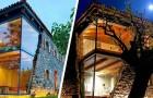 Dieses Haus wurde mit einer spektakulären Glaswand rekonstruiert, die aus dem Stein