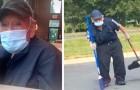 Uma mulher percebe um homem idoso que trabalha sob o sol e decide dar a ele a sua