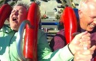 She's persuaded by her husband to get on the ride ... but it's NOT a good idea!