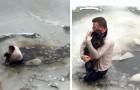 Un hombre se tira en las aguas congeladas de un río para salvar un perro que estaba atrapado