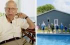 Viudo de 94 años construye una piscina en el patio de su casa para todos los niños de la zona: no quería sentirse solo